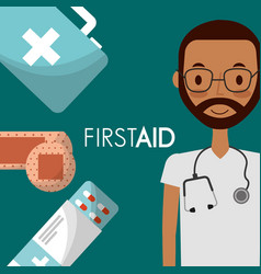 doctor with sthethoscope and medicine first aid vector image