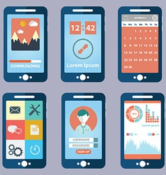 Flat collection of modern mobile phones with vector image