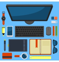 Office Workplace Top View in Flat Design vector image