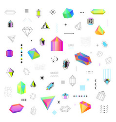 polygonal crystals icons big set vector image vector image