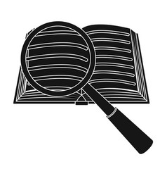 seraching of information in the book icon in black vector image
