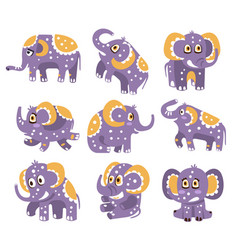 stylized elephant with polka-dotted pattern series vector image vector image