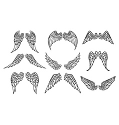 wings set for tattoo vector image vector image