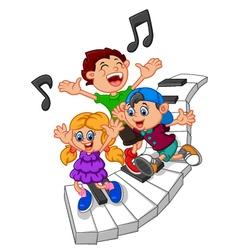 cartoon kids and piano vector image vector image
