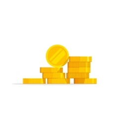 Coins stack icon flat pile vector image