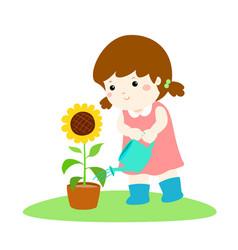 Girl watering sun flower cartoon vector