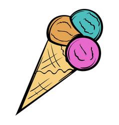 mixed ice cream scoops in cone icon cartoon vector image