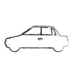 monochrome sketch with automobile in side view vector image