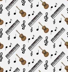 Pattern guitar synthesizer and notes vector image vector image