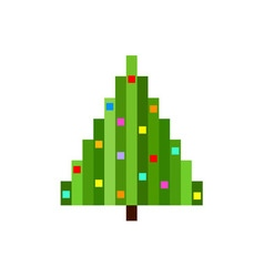 pixel art christmas tree flat vector image vector image