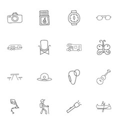 Set of 16 editable camping doodles includes vector
