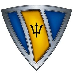 shield with flag barbados vector image vector image