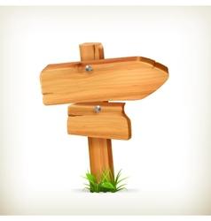 Wooden sign arrow vector image
