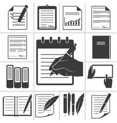 writing black icons vector image vector image