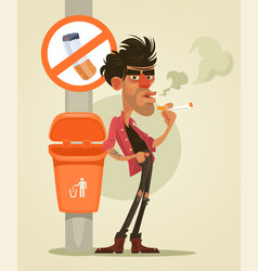 bad man character smoking under sign smoke vector image vector image