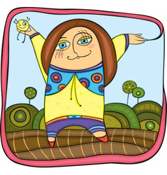 carefree girl walking in park vector image vector image