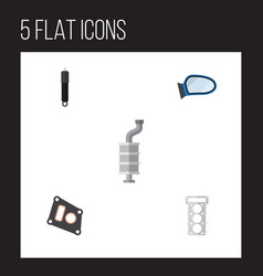 flat auto set of auto component packing gasket vector image vector image