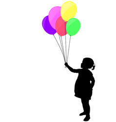 Little girl holding colorful balloons silhouette vector