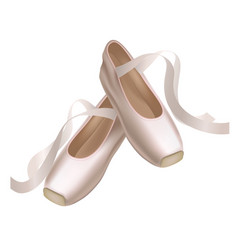 realistic detailed ballet pointe shoes on a white vector image vector image