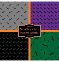 Set of four seamless patterns of black bats vector image