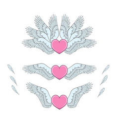 set of pink hearts with white wings vector image vector image