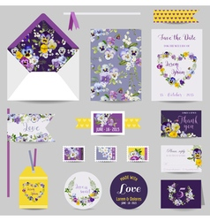 Set of Wedding Stationary - Invitation Card vector image