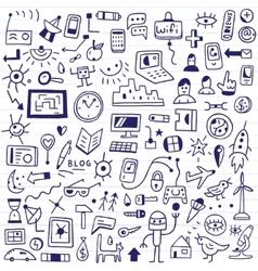 web devices - doodles set vector image