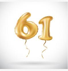 golden number 61 sixty one metallic balloon party vector image vector image