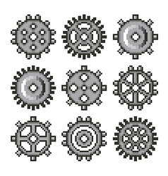 Pixel gears for games icons set vector image vector image