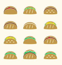 set of color tortilla tacos food icons set eps10 vector image