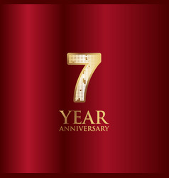 7 year anniversary gold with red background vector