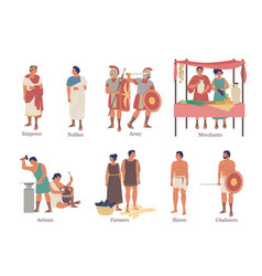 Ancient rome hierarchy characters flat vector