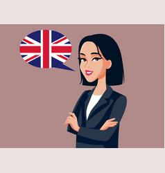 Asian businesswoman speaking english cartoon vector