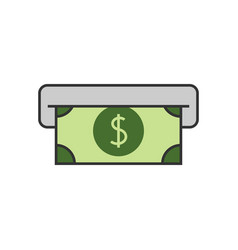 Atm cash flat line icon vector