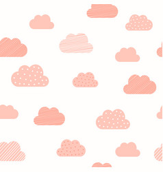 baby girl pink clouds pattern background vector image
