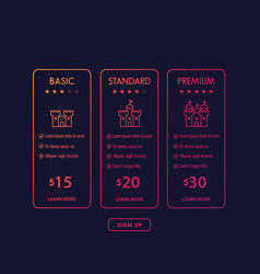 banner for tariffs set pricing table and plans vector image