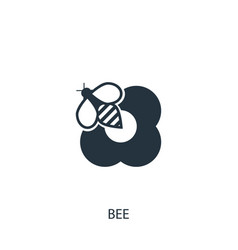 Bee on flower icon simple gardening element vector