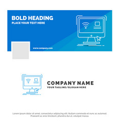 Blue business logo template for control computer vector