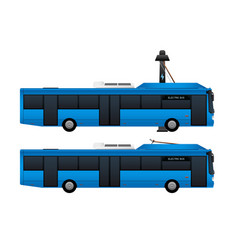 Blue electric bus with pantograph vector