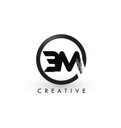 Bm brush letter logo design creative brushed vector