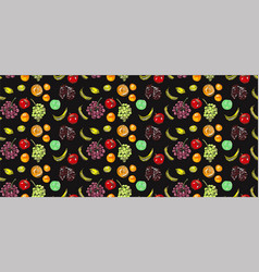 bright pattern fruits vegan vector image