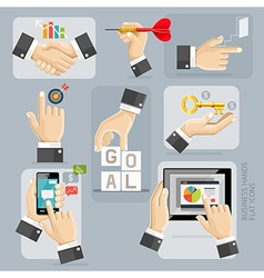 Business Hands Flat Icons Set vector
