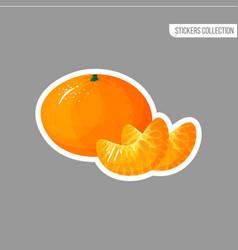 Cartoon fresh tangerine or mandarin sticker vector