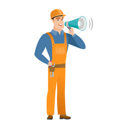 Caucasian builder talking into loudspeaker vector