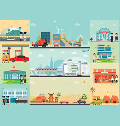 City life info graphics with industrial area vector
