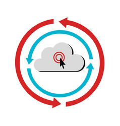 color circular emblem with cloud service storage vector image