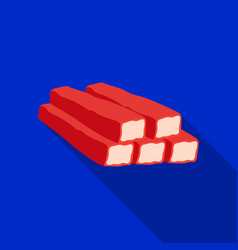 Crab sticks icon in flat style isolated on white vector
