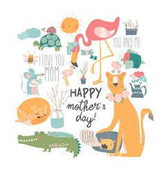 cute cartoon animals mothers with their cubs vector image
