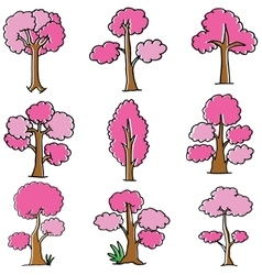 Doodle of pink tree style vector