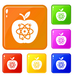 eco apple icons set color vector image